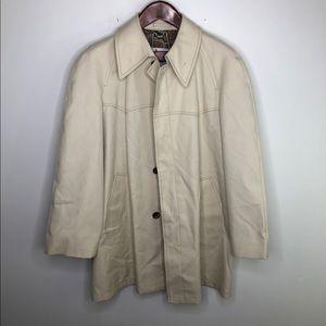 London Fog Beige Tan Lined Tan Rain Coat 40 Reg